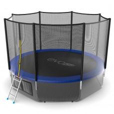 Батут SOULFIT EVO JUMP External 12ft (Blue) с внешней сеткой и лестницей